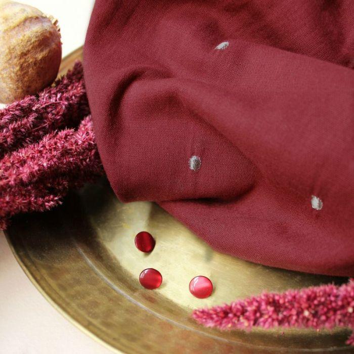 Tissu double gaze Stardust amarante - Atelier Brunette x 10 cm