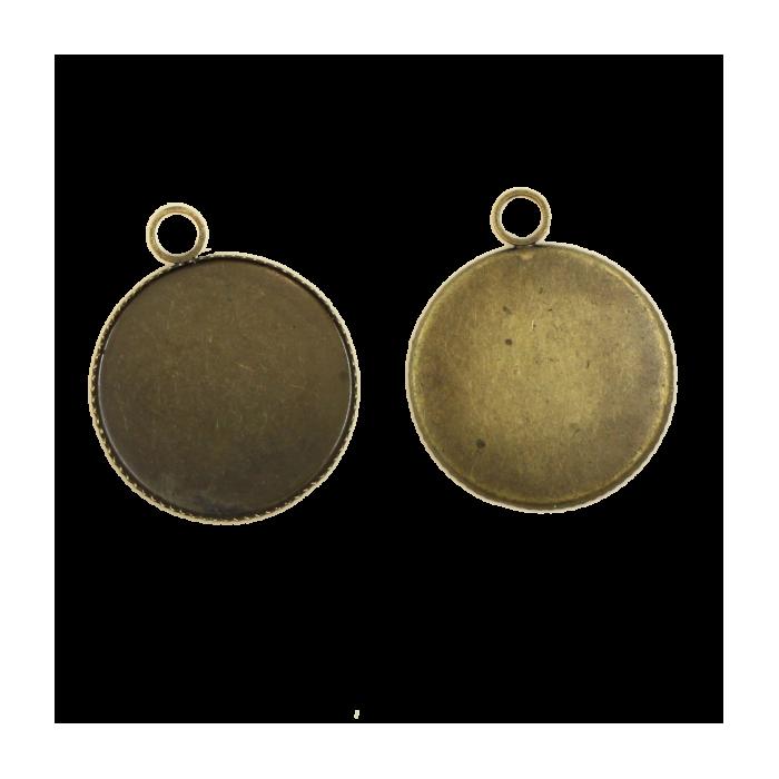 Breloque plateau 23mm ronde avec rebord bronze x1