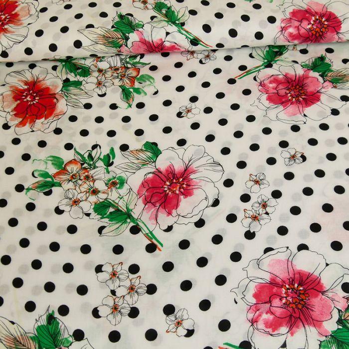 Tissu viscose  fleurs pois - blanc x 10 cm