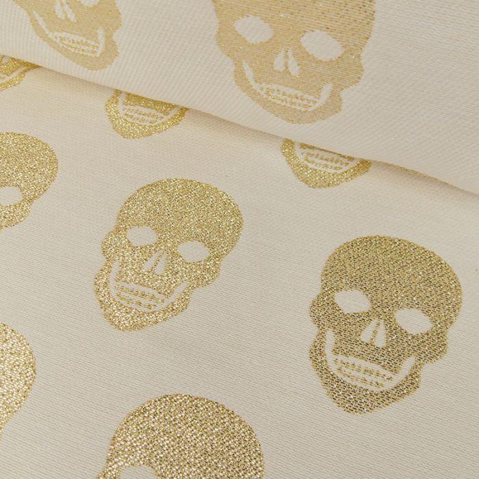 Tissu jacquard tête de mort - écru doré x 10 cm