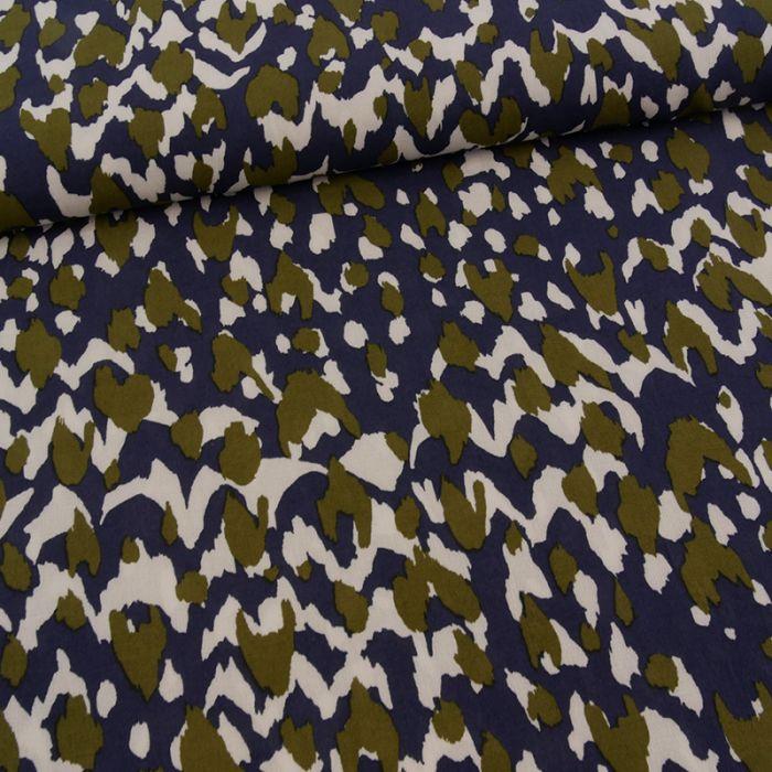Tissu polyester camouflage - marine x 10 cm