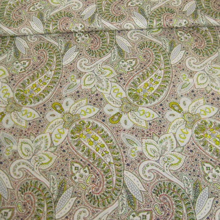 Tissu coton élasthanne motifs cachemire - blanc x 10 cm
