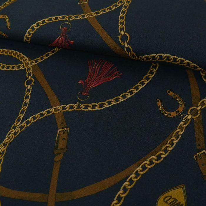 Tissu viscose fine chaînes breloques - marine x 10 cm