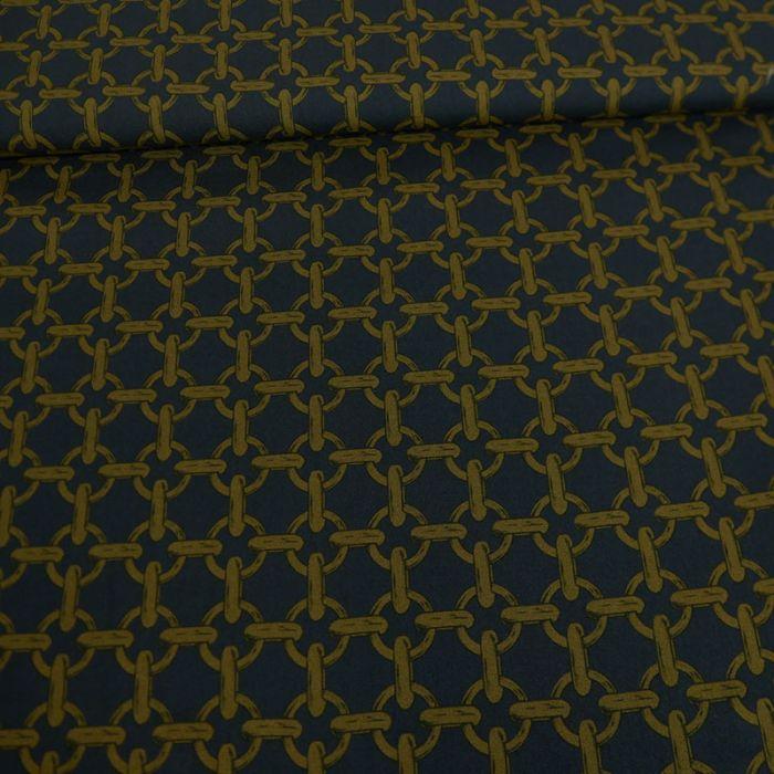 Tissu viscose fine chaînes or - marine x 10 cm