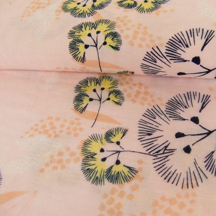 Tissu fleurs rose - Rico Design x 10 cm