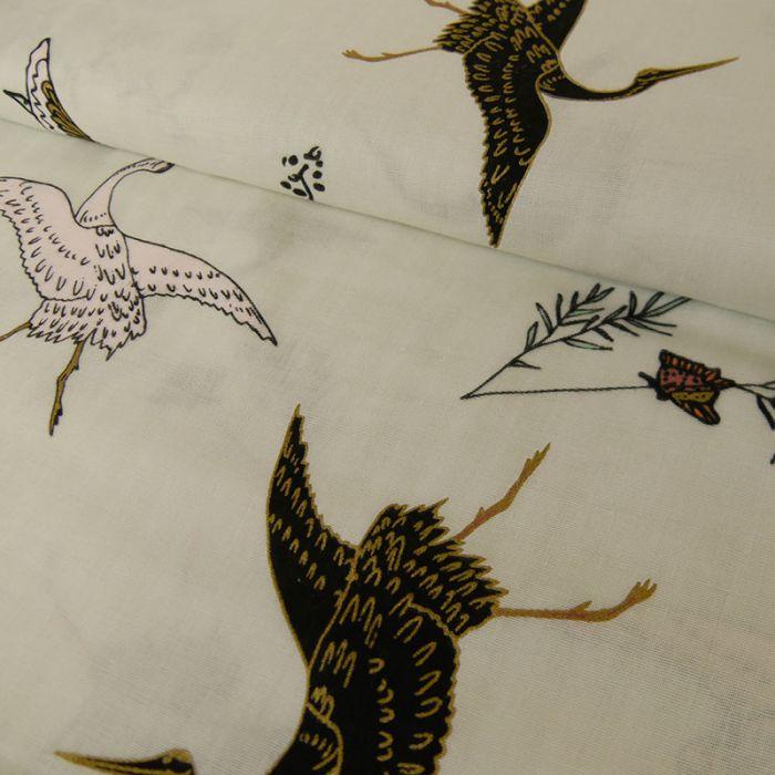 Tissu coton gris oiseaux or - Rico Design x 10 cm