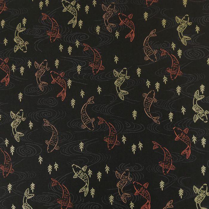 Tissu coton kimono koi - noir x 10 cm