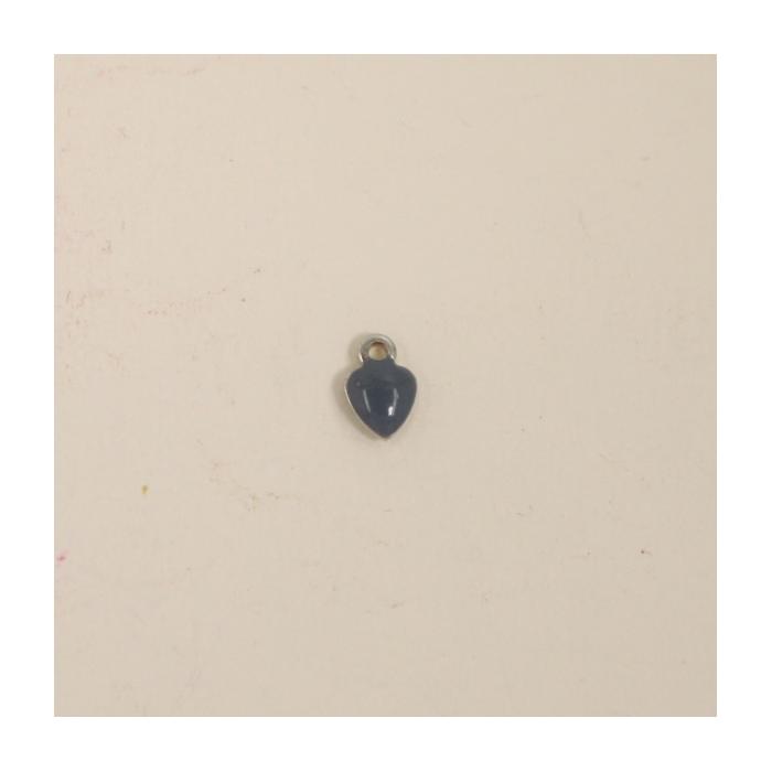 Breloque émaillée coeur 7mm gris x1