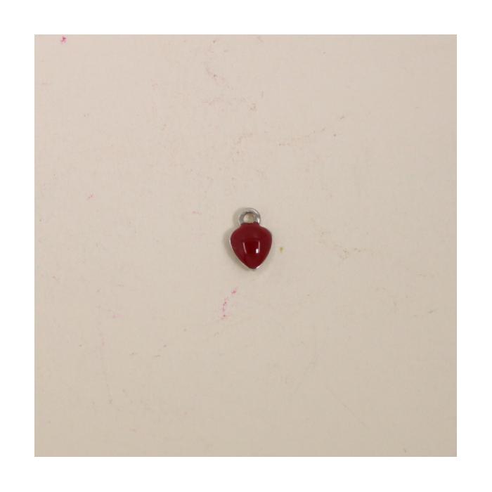 Breloque émaillée coeur 7mm rouge x1
