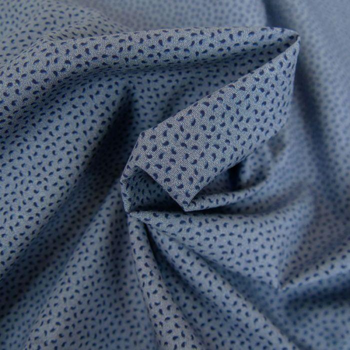 Tissu coton gouttes - bleu x 10 cm
