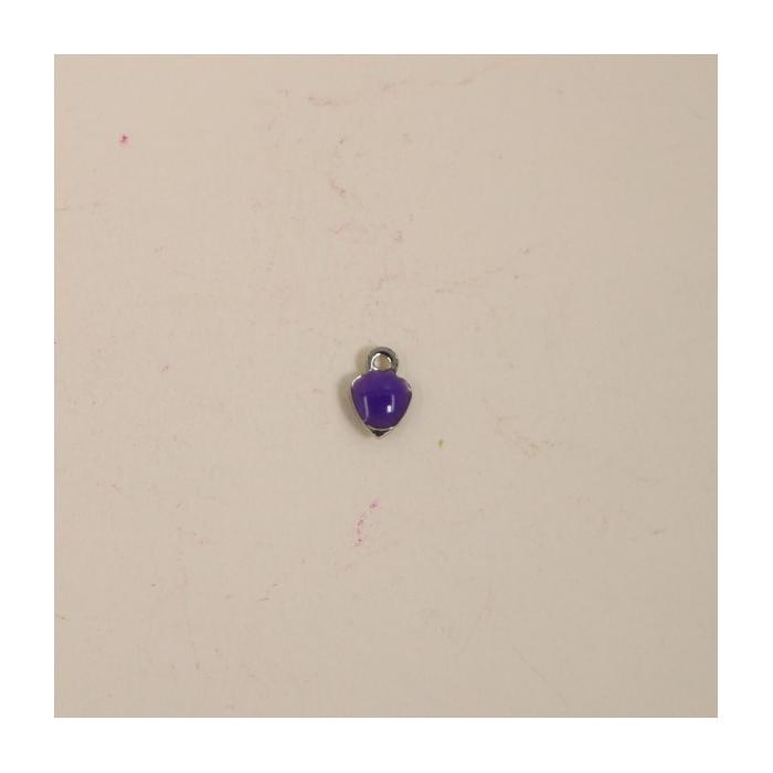 Breloque émaillée coeur 7mm violet x1
