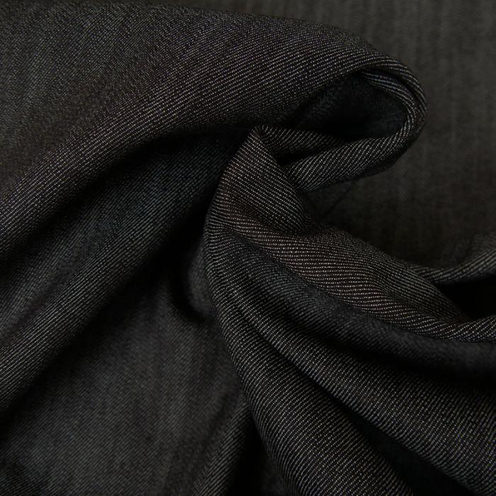 Tissu Denim Élasthanne - Noir Chiné x 10 cm