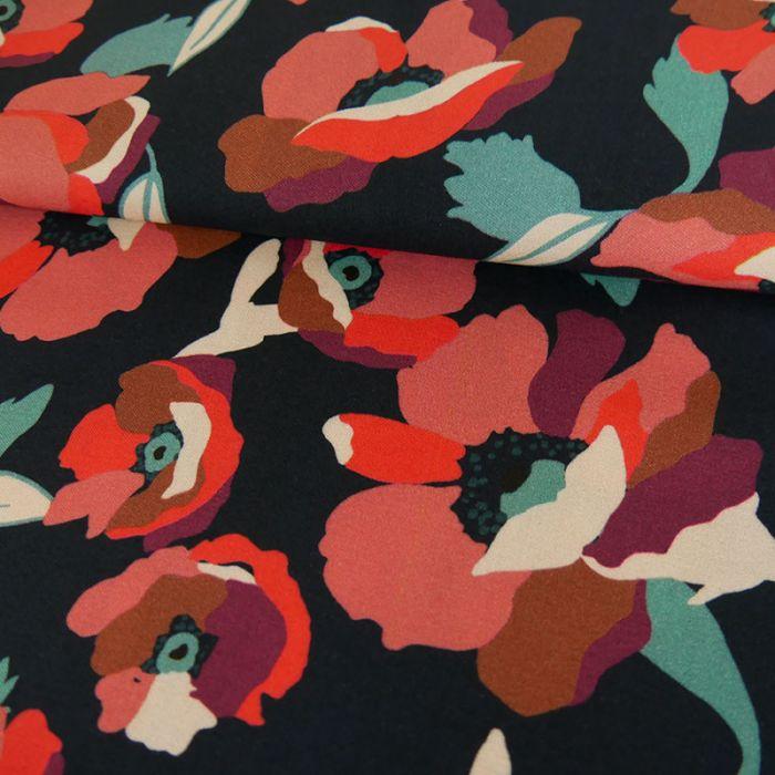 Tissu Viscose Coquelicots - Marine x 10 cm