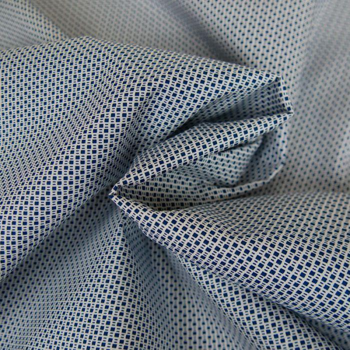 Tissu Coton Petits Carrés - Bleu Cobalt x 10 cm