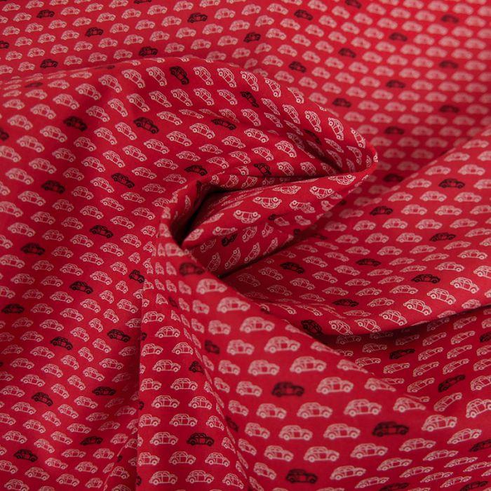 Tissu Coton Voitures - Rouge x 10 cm