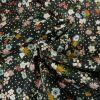 Tissu Viscose Fleurs et Pois - Noir x 10 cm