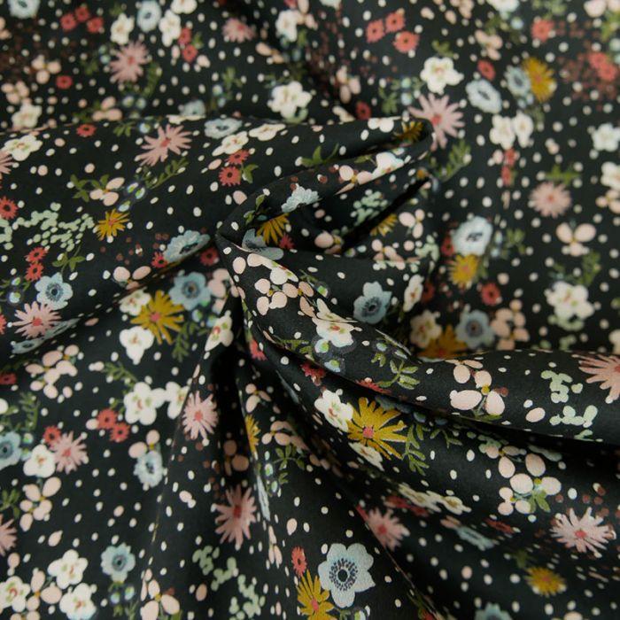 Tissu Coton stretch Fleurs et Pois - Noir x 10 cm
