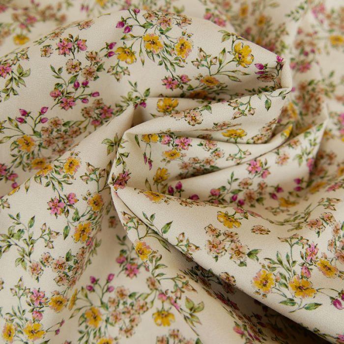 Tissu Coton Elasthanne - Fleurs - Ecru x 10 cm