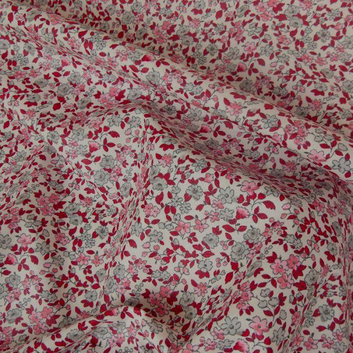 Tissu coton enduit fleurs - rose blanc x 10 cm