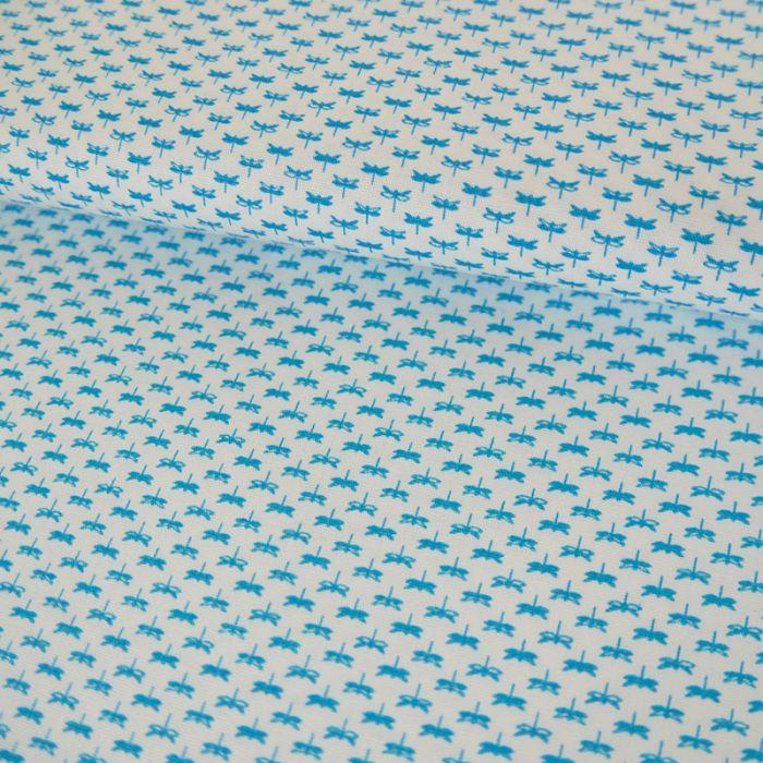 Tissu Coton Libellules - Blanc x 10 cm