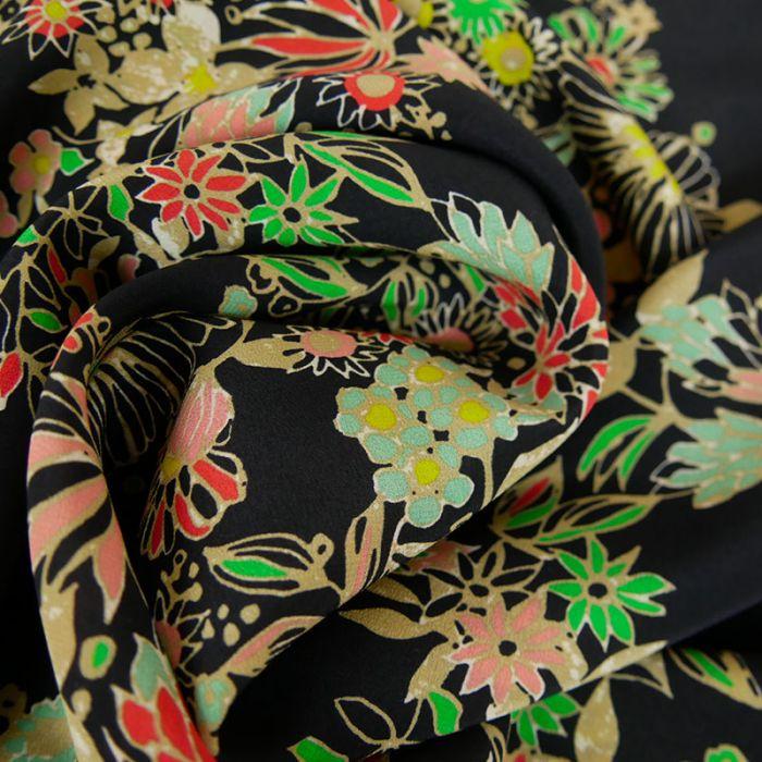 Coupon x 1,20 m - Soie fluide fleurs noir