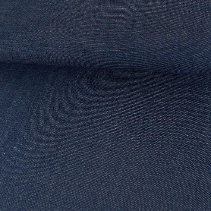 Tissu Denim Coton et Lin - Bleu x 10 cm