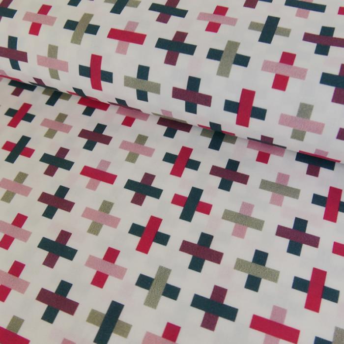 Coupon x 1 m - Popeline coton imprimée violet rose