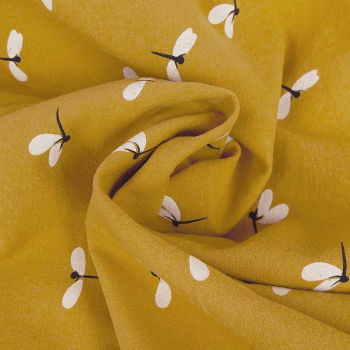 Coupon x 1,10 m - Coton lavé libellules moutarde