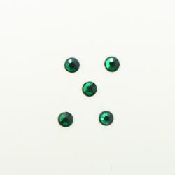 Perles à coller strassées 3mm vert foncé