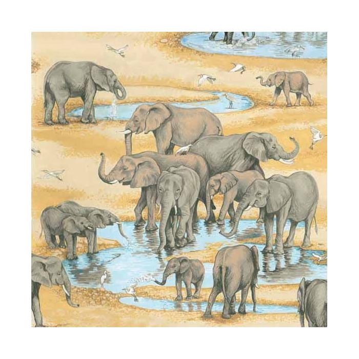 Coupon x 90 cm - Tissu Safari Éléphants