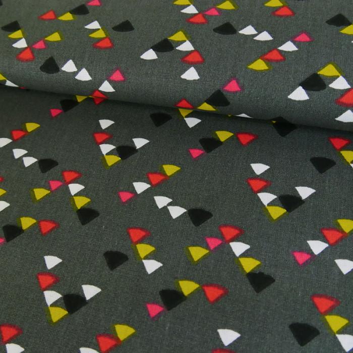Coupon x 65 cm - Tissu imprimé triangles gris