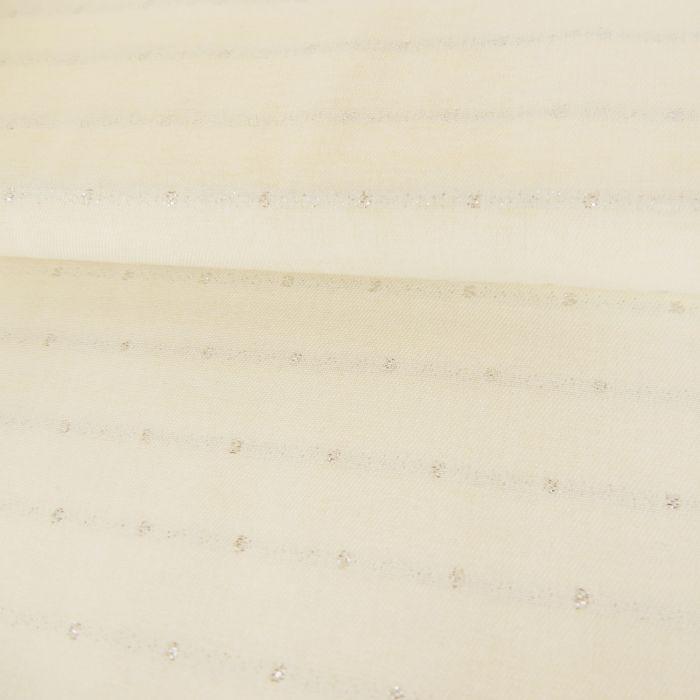 Tissu viscose argenté - écru x 10 cm