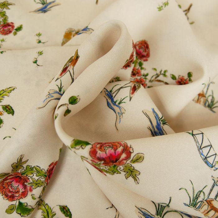 Tissu viscose fine hérons - écru x 10 cm