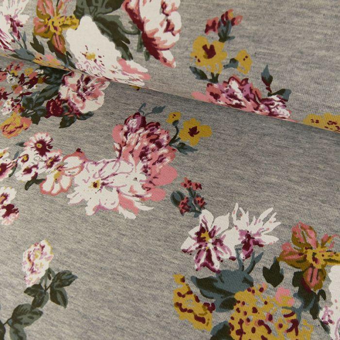 Tissu jersey french terry fleurs - gris x 10 cm