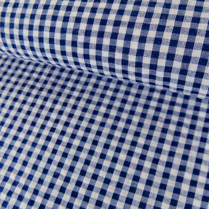 Tissu seersucker vichy - bleu x 10 cm