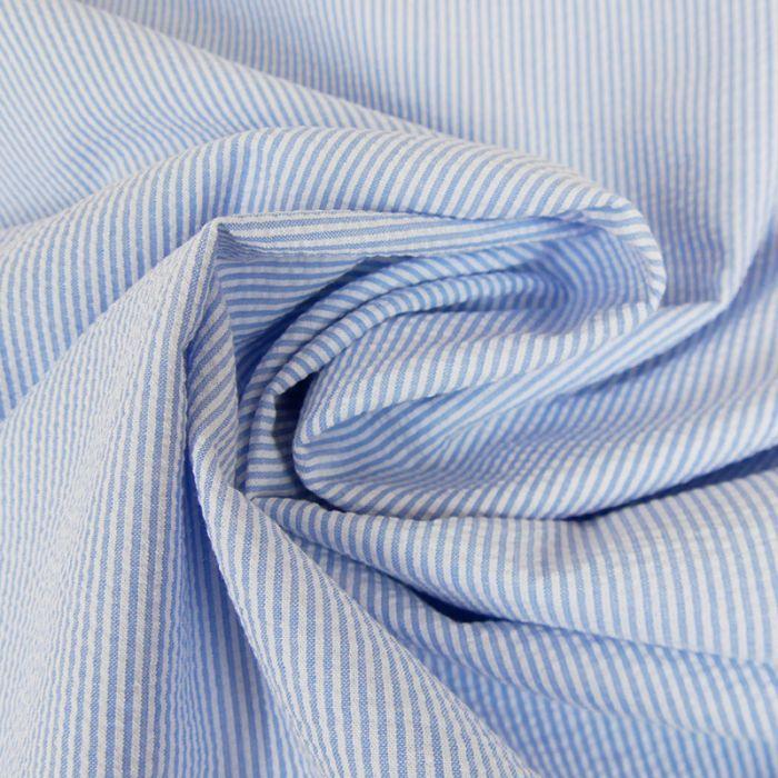 Tissu seersucker fines rayures - bleu ciel x 10 cm