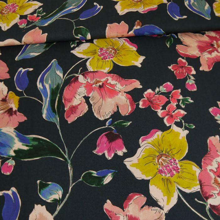 Tissu viscose cupro fleurs - marine x 10 cm