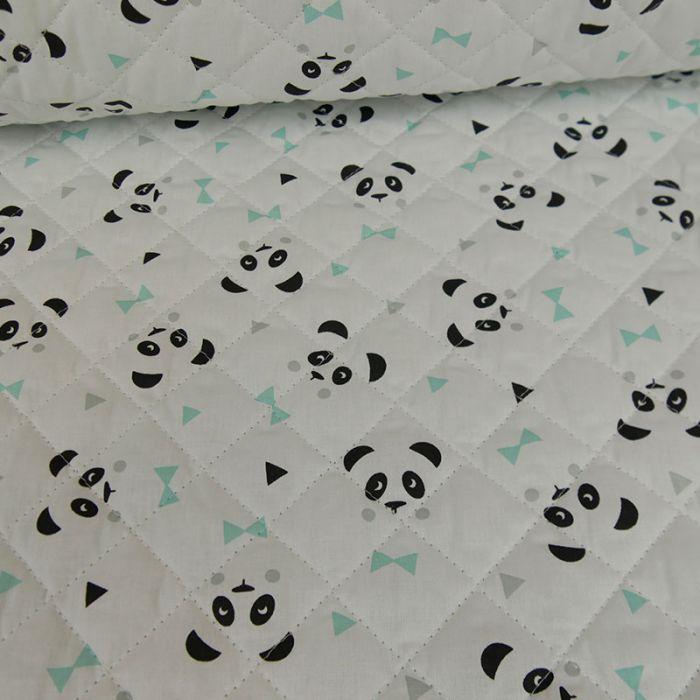 Tissu matelassé réversible pandas - blanc x 10cm