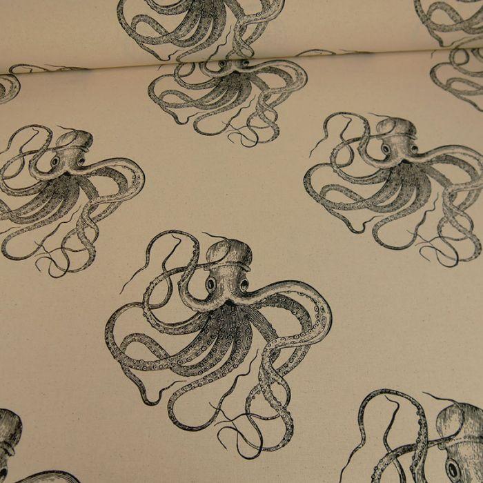 Tissu coton pieuvres x écru 10 cm