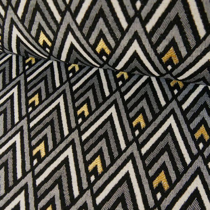 Tissu jacquard losanges or - noir x 10 cm