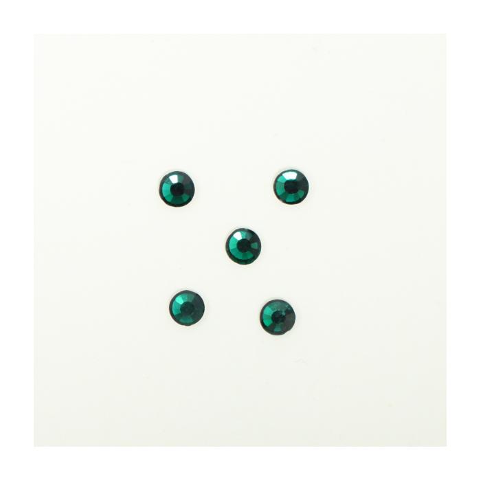 Perles à coller strassées 4mm vert foncé x5