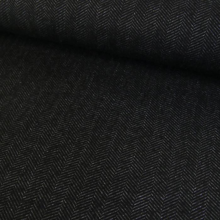 Coupon x 90 cm - Coton chevrons gris foncé