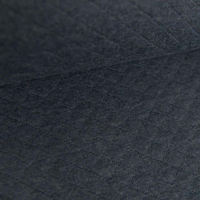 Jersey matelassé coton chiné - bleu jean x 10 cm
