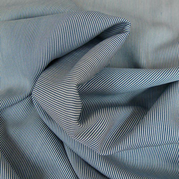Tissu Viscose Stripe - Bleu Foncé x 10 cm