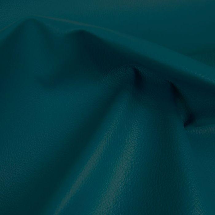 Tissu Simili Cuir - Bleu Canard x 10 cm