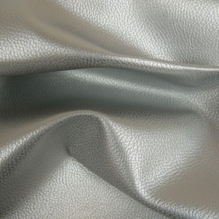 Tissu Simili Cuir - Argent x 10 cm