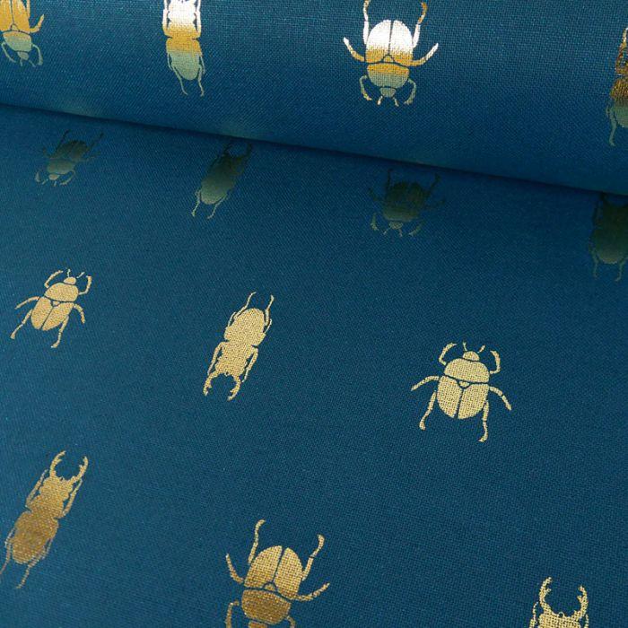 Tissu Coton Scarabée Or - Bleu Canard x 10 cm