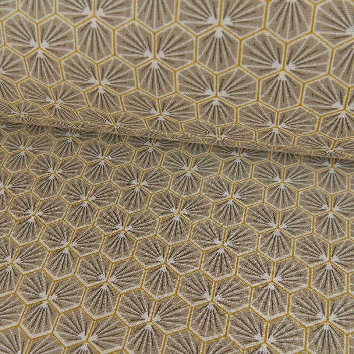Tissu Cretonne Hexagone - Gris x 10 cm