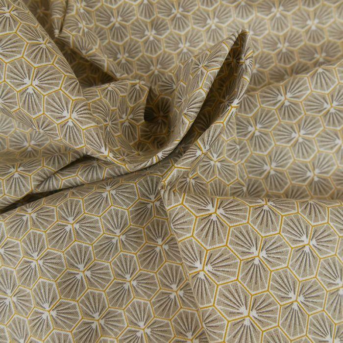 Tissu Cretonne Hexagone - taupe x 10 cm