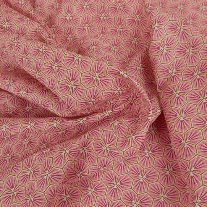 Tissu Cretonne Hexagone - Rose x 10 cm